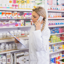 pharmacist recieving orders through phone call